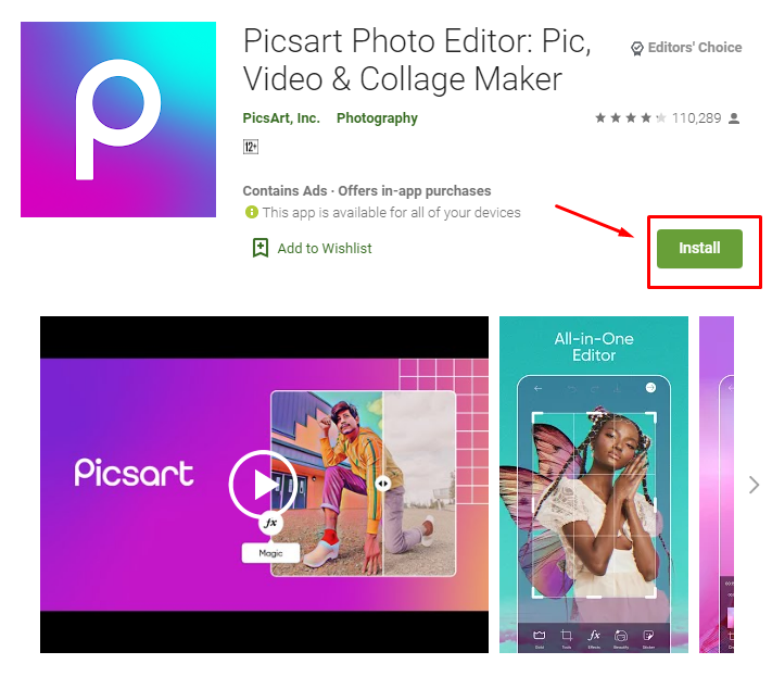 how to download and install PicsArt for MAC
