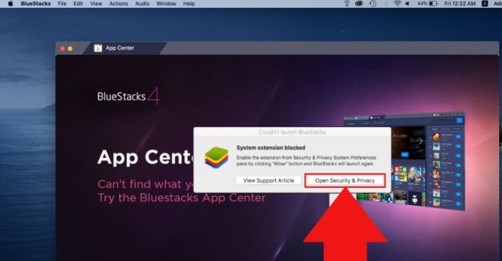 Open Security & Privacy settings on bluestack