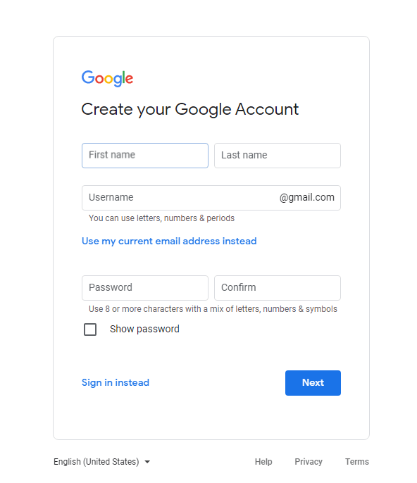 sign up to gmail