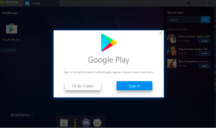 Log in to The Google Play Store