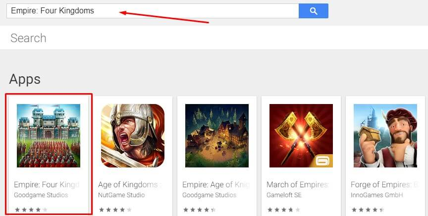 search for Empire Four Kingdoms for Mac