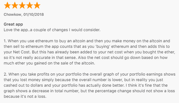 user review of Blockfolio for Ma