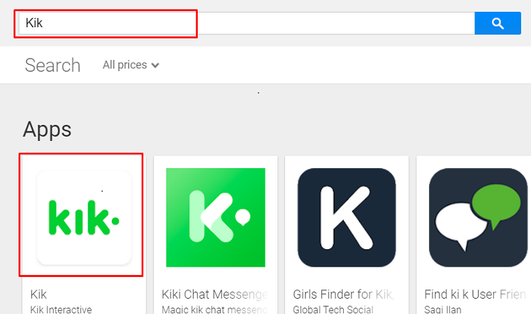 Search Kik App on the Play Store