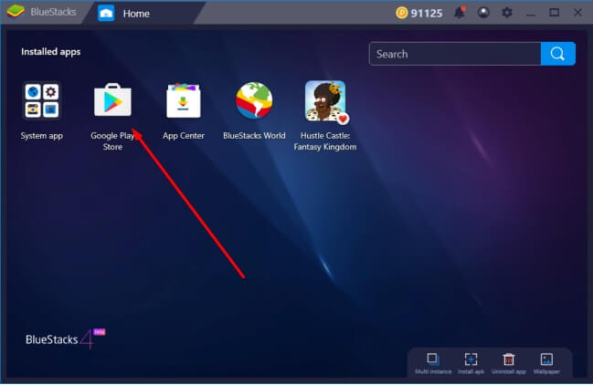 launch play store to install the Zsight for Mac Using Bluestacks Emulator