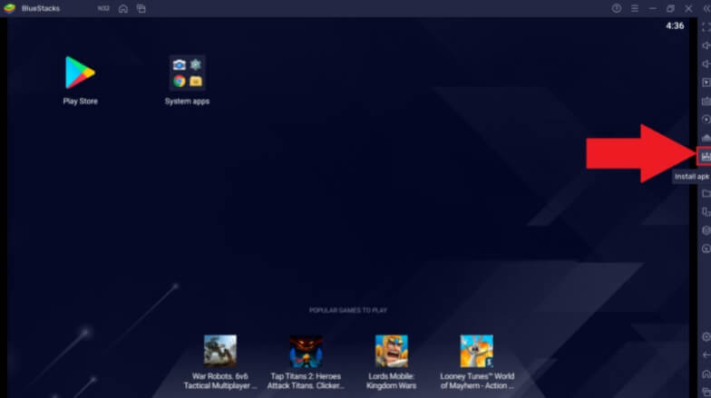 Launch the installed BlueStacks and click on the 'Install apk'