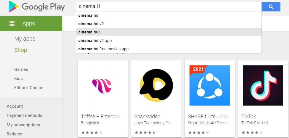search for Cinema HD for mac