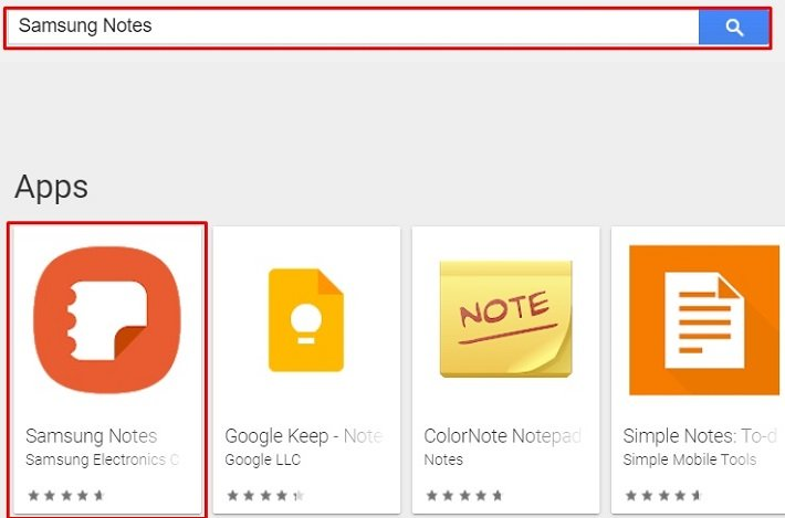 search for Samsung Notes for Mac on play store