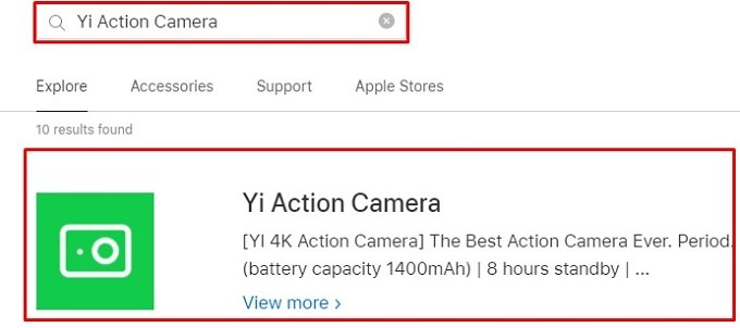 search for Yi Action Camera App for Mac