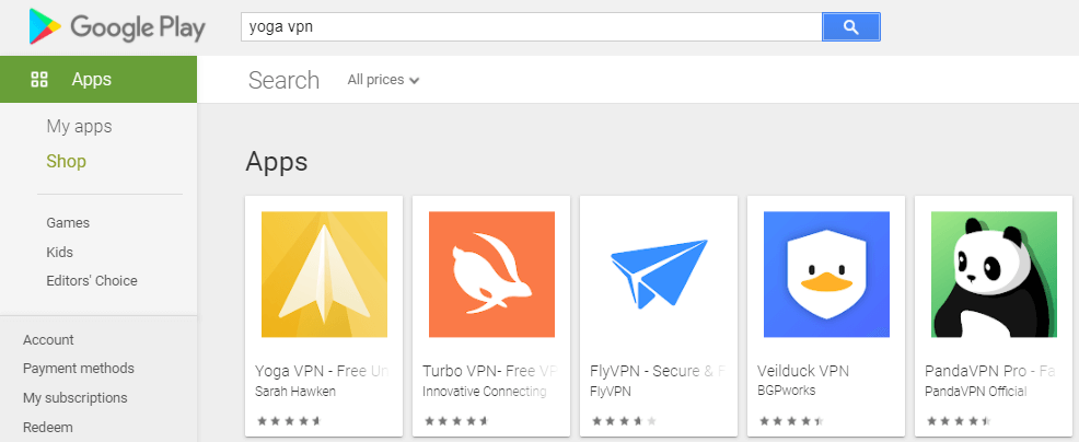 search for Yoga VPN for Mac on play store