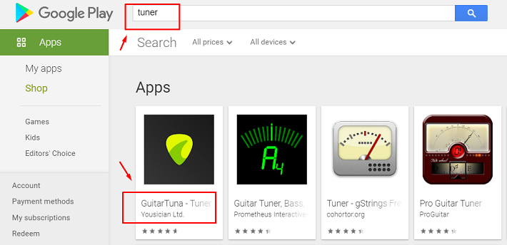 select the thumbnail of Tuner for mac