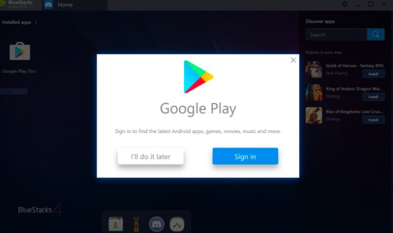 sign in with a gmail to Download & Install Ultrasurf for Mac Using Bluestacks