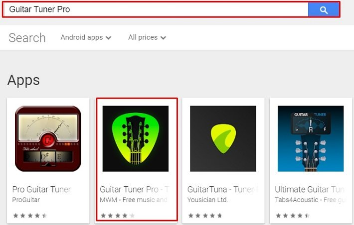 search for Guitar Tuner for Mac on play store using Nox Player
