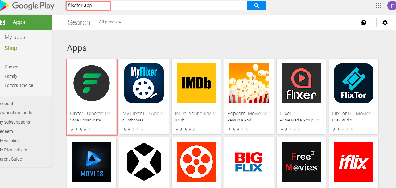 search for Flixster App for Mac on play store