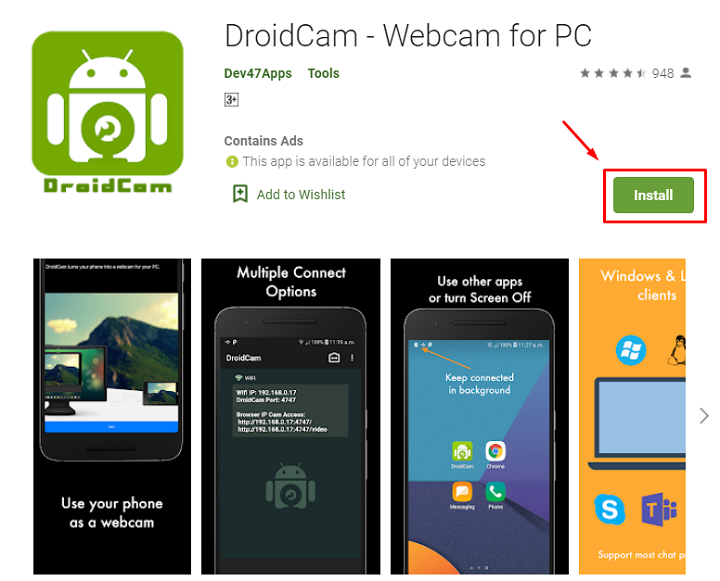 how to download and install DroidCam App for Mac