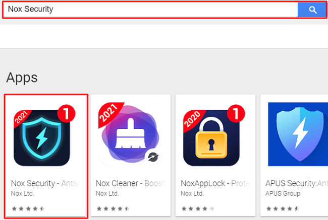 search Nox Security for Mac in play store