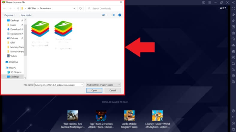 select apps from the Windows Explorer pop-up screen