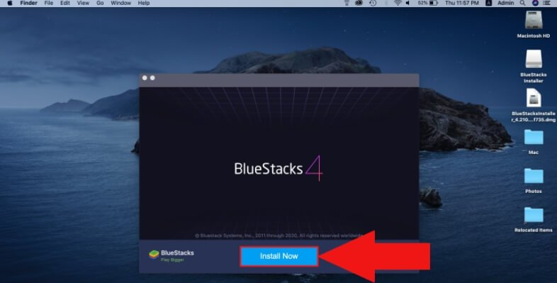 tap on the Install bluestack on pc and mac